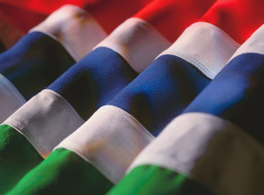 Stock Photo: 1491R-1110531 close-up of the flag of Gambia
