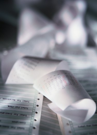 close-up of adding machine paper strips : Stock Photo