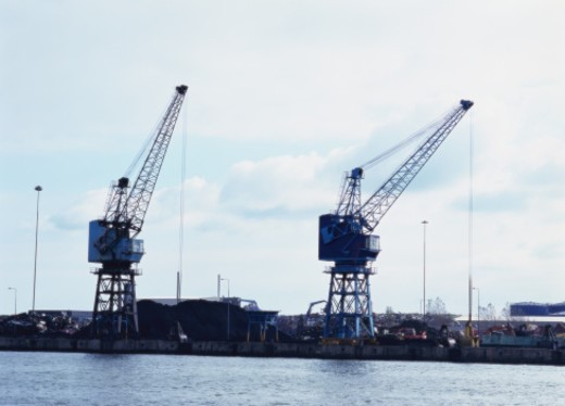 Stock Photo: 1491R-1126167 View of cranes installed at a cargo port