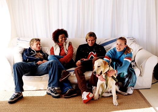 Two young couples sitting on a couch with a dog at their feet : Stock Photo