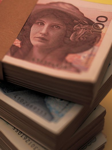 Stock Photo: 1491R-1135098 Close-up of stacks of bank notes