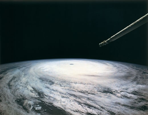 Storm formation over earth viewed from space : Stock Photo