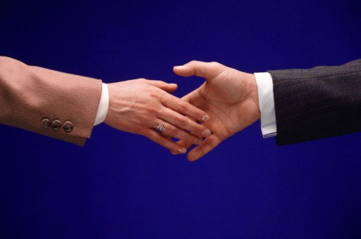 Businessman and businesswoman shaking hands : Stock Photo