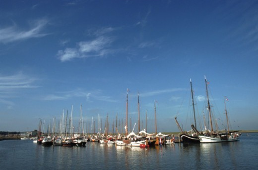 Netherlands, Sailboat in harbour : Stock Photo
