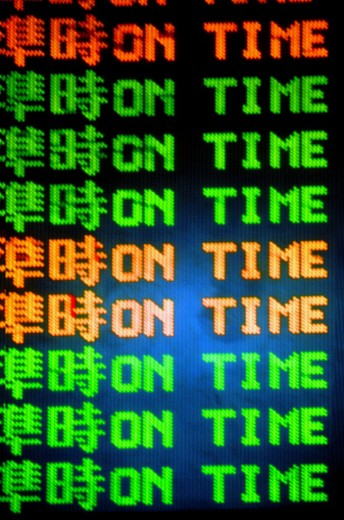 Arrival departure board at airport, close-up : Stock Photo