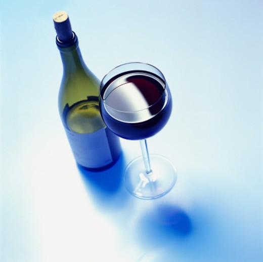 Stock Photo: 1491R-114026 high angle view of a bottle and glass of wine