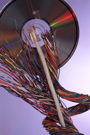 Stock Photo: 1491R-1142587 electronic wires on cd-rom