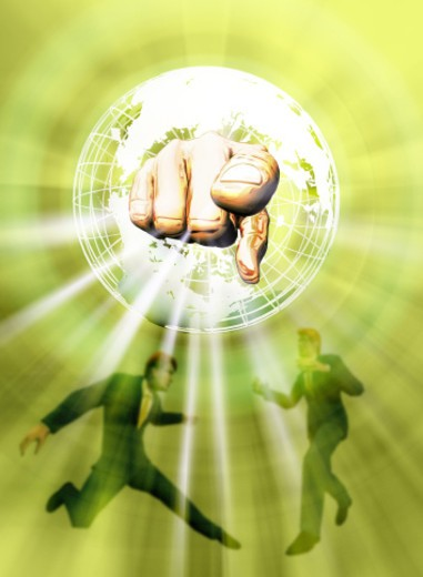 Stock Photo: 1491R-1144477 Global business with human hand pointing through globe Digital composite)