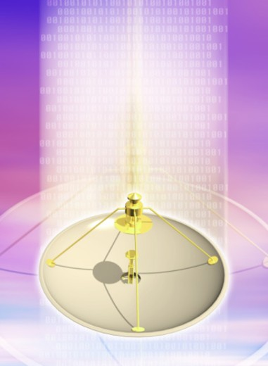 Satellite dish emanating binary code numbers (Digital Composite) : Stock Photo