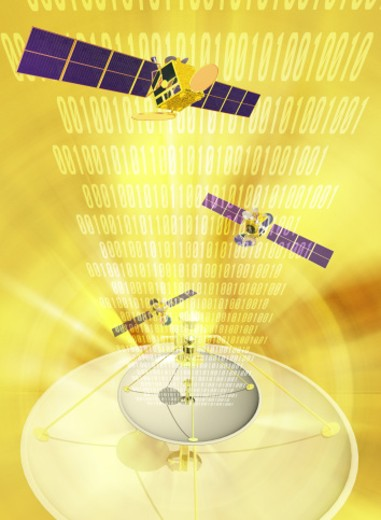 Satellite dish emanating space stations and binary code (Digital Composite) : Stock Photo