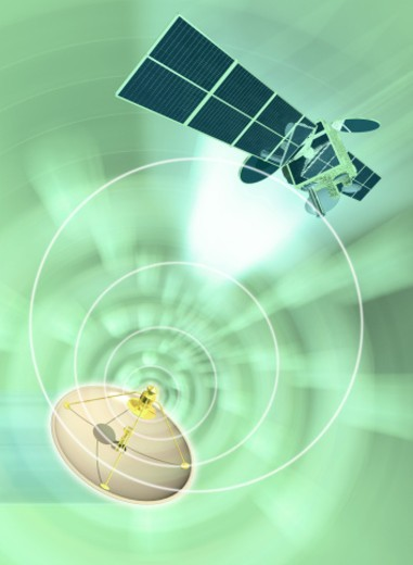 Stock Photo: 1491R-1144500 Satellite dish emanating radio waves (Digital Composite)