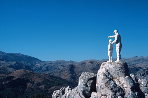 statue of man and child, Spain : Stock Photo