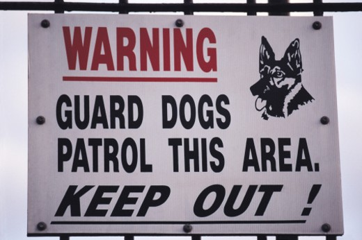 Stock Photo: 1491R-1149157 guard dogs sign