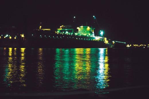 ship at night at harbour : Stock Photo