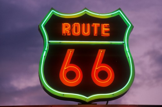 Stock Photo: 1491R-1152479 USA, California, Barstow, neon sign reading Route 66