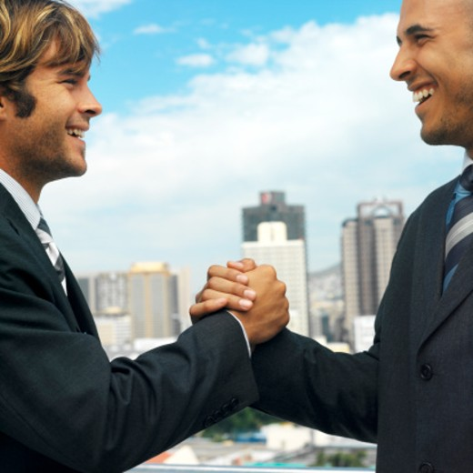 two young businessmen grasping hands : Stock Photo