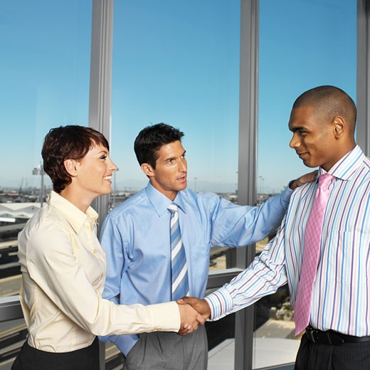 Stock Photo: 1491R-1154205 business executives shaking hands standing near a window