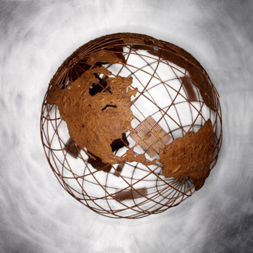 Stock Photo: 1491R-1155115 metallic model of the earth