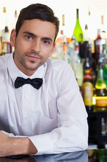 Stock Photo: 1491R-1157510 Barman in a pub or wine bar