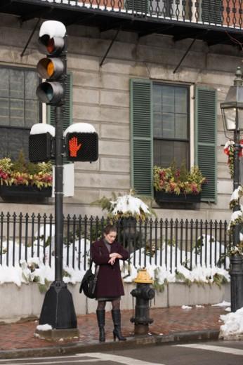 Beacon Street stop light in Boston : Stock Photo