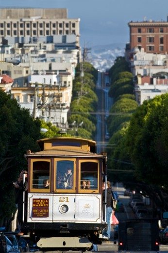 Cable car, Hyde St, San Francisco, California, USA : Stock Photo