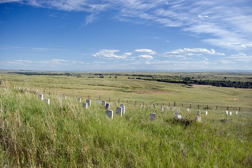 Markers on Last Stand Hill including the spot where George Custer died during the Battle of Little Bighorn on June 25, 1876.  : Stock Photo