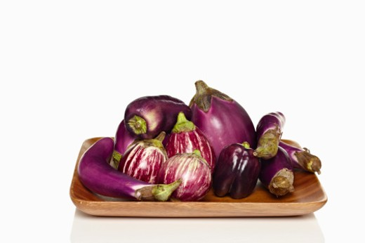 Stock Photo: 1491R-1163677 eggplants and bell peppers