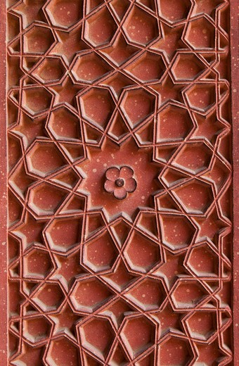 Stock Photo: 1491R-1166481 Detail of carvings on wall in Agra Fort