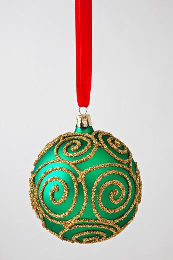 Green gold Christmas ornament : Stock Photo
