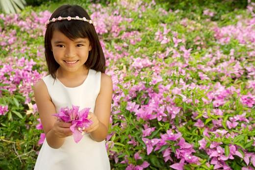asian, flower, child, female, girl : Stock Photo
