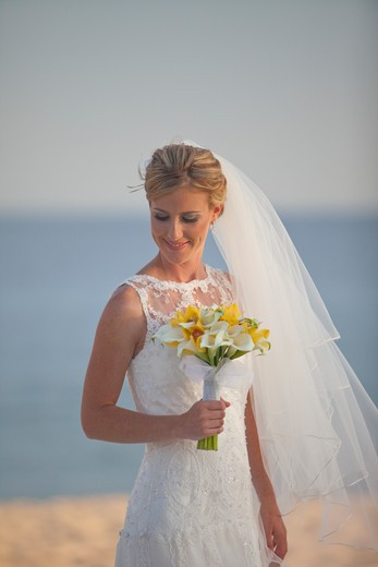 Portrait of a bride with bouquet. : Stock Photo