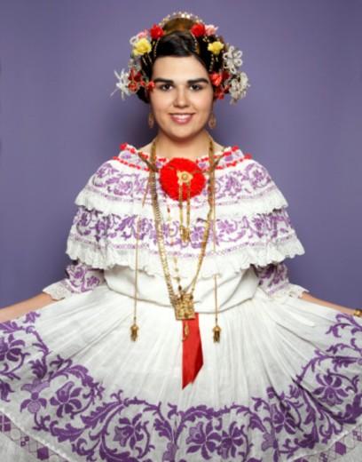 Stock Photo: 1491R-1170063 3/4 shot of girl wearing pollera