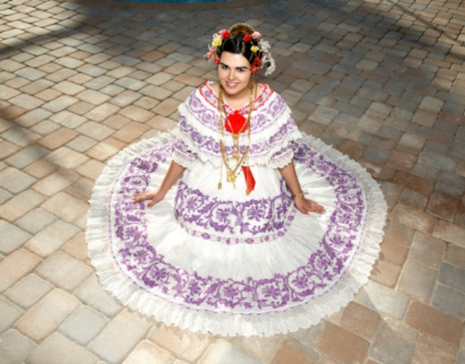 Stock Photo: 1491R-1170064 teen girl wearing a traditional Panamanian Pollera