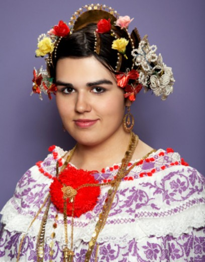 portrait of girl wearing traditional pollera : Stock Photo