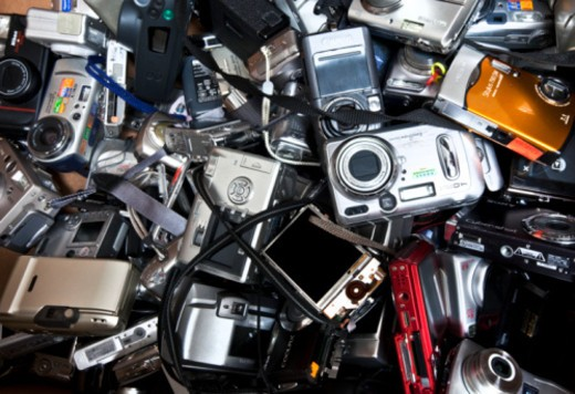 broken, cameras, digital camera, electronic waste, photography : Stock Photo