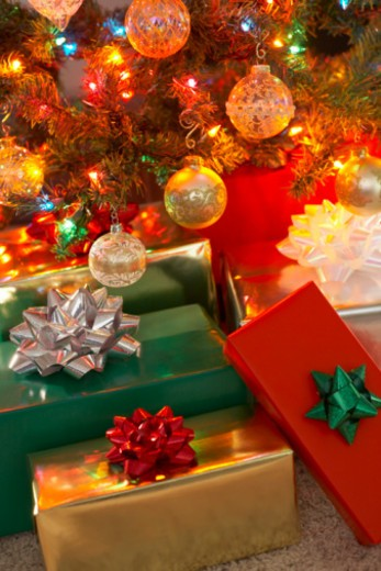 Gifts under Christmas tree : Stock Photo
