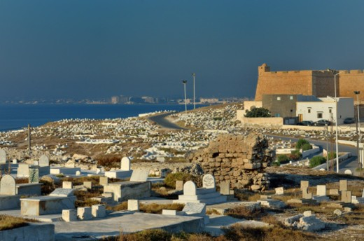 Stock Photo: 1491R-1173440 marine cemetery located at the end of the peninsula and opening to the sea of Mahdia, and Borg el-Kebir is a large 16th-century fortress on the coast which watches over the city of Mahdia.Historical names Jemma, Aphrodisium Mahdia Governorate, Cape Africa,Tunisia