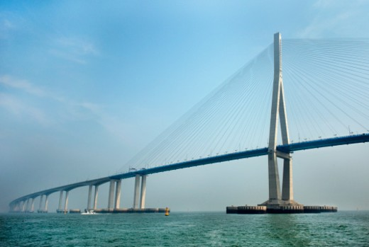 A view from the water of Incheon Bridge, South Korea : Stock Photo