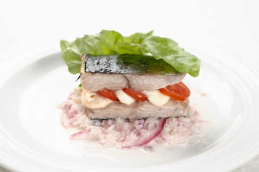 Tuna fish, tomato, mozzarella, red onion, extra virgin olive oil : Stock Photo