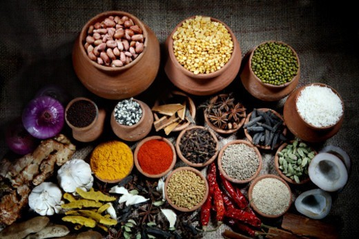 Stock Photo: 1491R-1176319 Top angle view of various spices