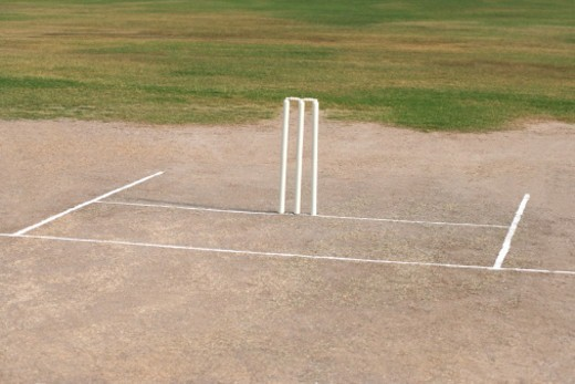 View of a cricket crease : Stock Photo
