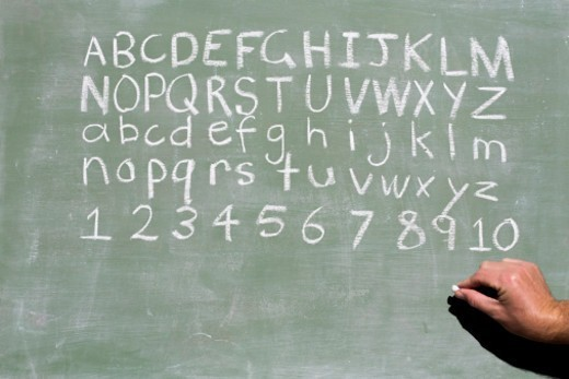 Stock Photo: 1491R-1178080 Alphabet and numbers on a chalkboard