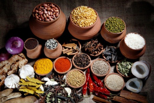Top angle view of various spices : Stock Photo
