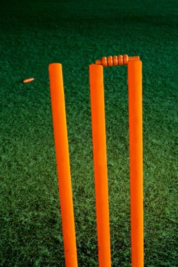 Stock Photo: 1491R-1178996 Cricket stumps with one bail