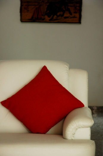 Close-up of a couch and cushion : Stock Photo