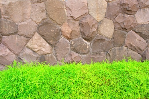 Stoney wall in a park : Stock Photo