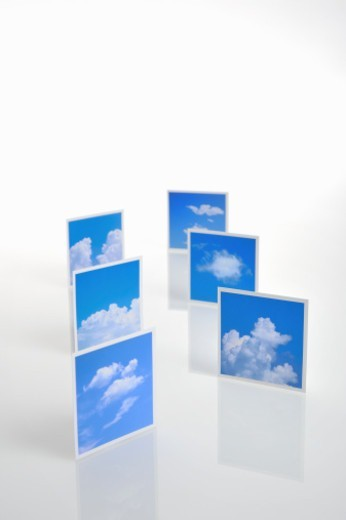 Photo of blue sky are arranged in random multiple sheets : Stock Photo