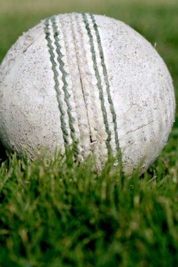Stock Photo: 1491R-1182668 Close-up of a cricket ball