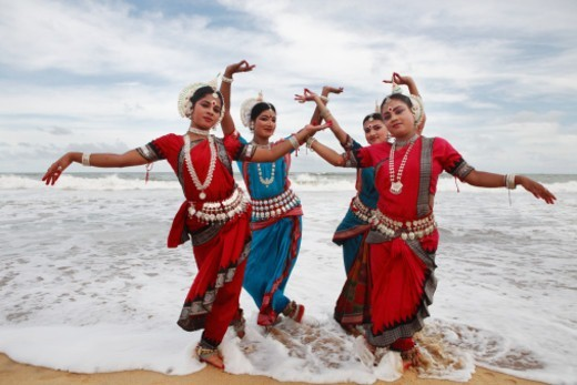 Stock Photo: 1491R-1182921 Group of Odissi dancers