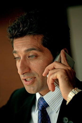 Stock Photo: 1491R-1185013 Portrait of a businessman speaking on a mobile phone
